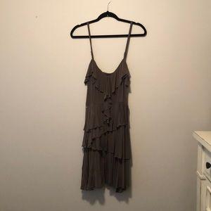 bebe Colorway Olive Spagetti Strap Ruffle Dress LG